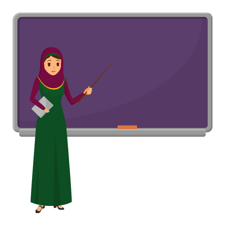 Muslim woman teacher standing in front of blackboard teaching student in classroom at school, college or university. Flat design arabian muslim female character in traditional clothes.