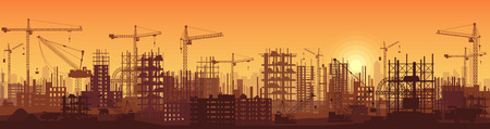 Illustration for Wide high detailed banner illustration silhouette in sunset of buildings under construction in process. - Royalty Free Image
