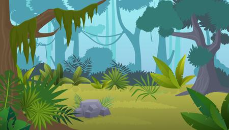 Illustration pour Vector cartoon empty tropical rainforest Jungle background. - image libre de droit