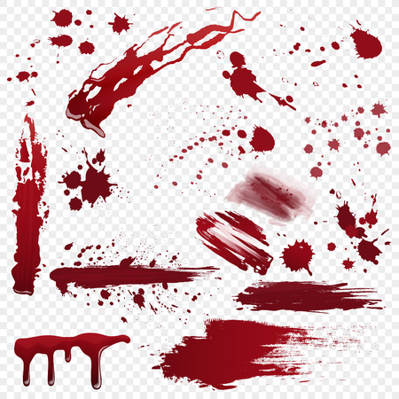 Illustration for Set of vector various realistic detailed bloodstain, blood or paint splatters isolated on the alpha transperant background. - Royalty Free Image