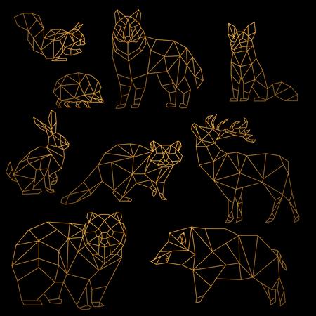 Illustration for Low poly luxury golden line animals set. Origami poligonal gold line animals. Wolf bear, deer, wild boar, fox, raccoon, rabbit and hedgehog on black background. - Royalty Free Image
