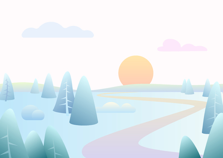 Illustration for Fantasy minimalistic winter road river landscape with cartoon curved trees, trendy gradient color vector illustration - Royalty Free Image