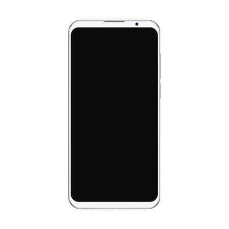 Illustration pour Realistic trendy white smartphone mockup with blank black screen isolated on white background. For any user interface test or presentation. - image libre de droit