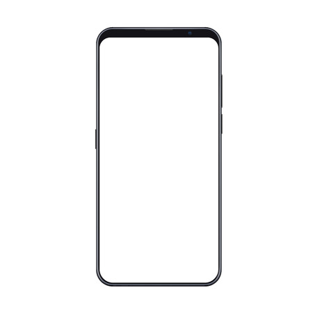 Illustration pour Realistic trendy smartphone mockup with thin frames and blank white screen isolated. Can be use for any user interface test or presentation. - image libre de droit