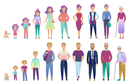 Ilustración de People male and female aging process. From baby to elderly person growing set. Trendy fradient color style vector illustration - Imagen libre de derechos