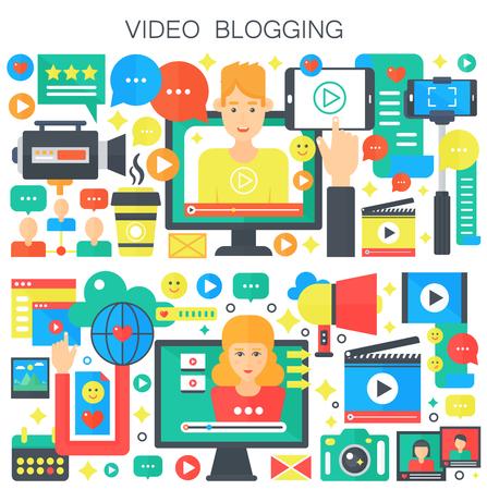 Illustration for Video blogging, webinar education, male and female blogger concept flat vector illustration - Royalty Free Image