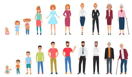 Illustration pour Life cycles of man and woman. People generations. Human growth concept vector illustration - image libre de droit
