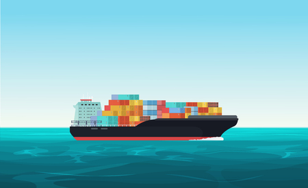 Cargo transportation ship with containers in the ocean. Delivery, shipping freight transportation concept vector illustration