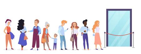 Ilustración de People standing in queue line in front of shop entrance doors. Cartoon man and woman waiting near boutique, store and showroom opening vector illustration - Imagen libre de derechos