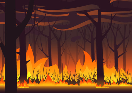 Illustration pour Woodland eco banner. Fire in forest. Wildfire landscape vector illustration - image libre de droit