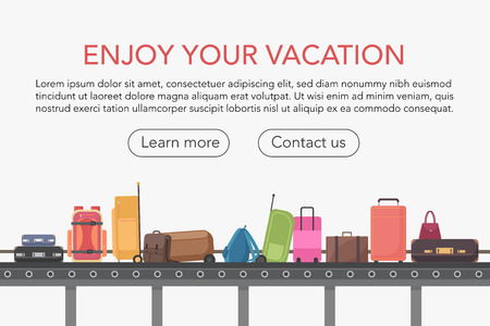 Ilustración de Conveyor belt in airport baggage hall. Baggage claim vector illustration - Imagen libre de derechos