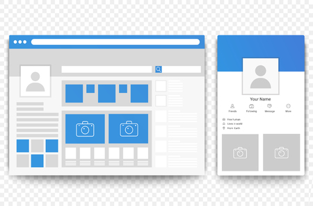 Ilustración de Social network web and mobile page browser. Concept of Social page interface vector illustration. - Imagen libre de derechos