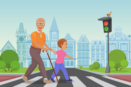 Illustration for Helping old man. Little boy helps an old man to cross the road in city vector illustration - Royalty Free Image