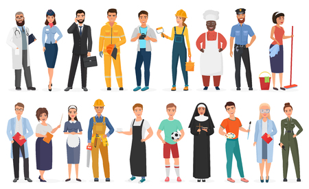 Illustration pour Collection of men and women people workers of various different occupations or profession wearing professional uniform set vector illustration - image libre de droit