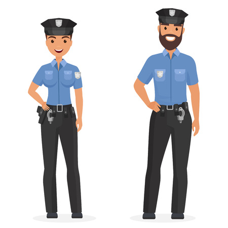 Illustration pour Two young happy police officers, man and woman isolated cartoon vector illustration - image libre de droit