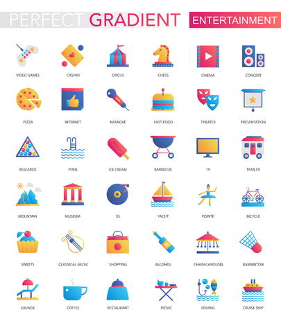 Illustration for Vector set of trendy flat gradient Entertainment icons - Royalty Free Image