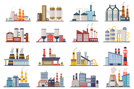 Illustration for Factory industry manufactory power electricity buildings flat icons set isolated. Urban factory plant landscape vector illustration - Royalty Free Image