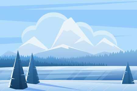 Illustration pour Blue winter landscape flat vector illustration. Spruce forest and mountains. Snowy nature view in frozen day. Wood in wintertime. Frosty outdoor scene with snow. Seasonal background - image libre de droit