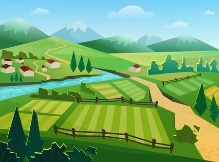 Photo pour Green fields and mountains flat vector illustration. Rural landscape, countryside, village, small houses, cottages by river. Nature, ecologically clean region, hilly terrain, grassland and riverside - image libre de droit