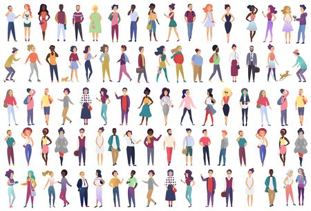 Illustration pour Fashionable group of male and female cartoon characters dressed in trendy clothing in different poses. Crowd of tiny people wearing stylish clothes flat gradient color vector illustration - image libre de droit