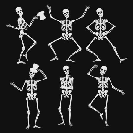 Illustration pour Homan skeletons silhouettes in different poses isolated on black vector illustration - image libre de droit