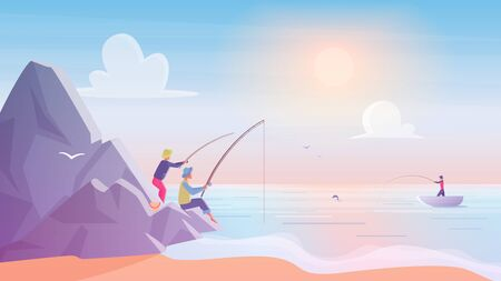 Fishermen on rocks near sea or lake beach. Fishing sport, outdoor summer recreation,hobby vacation, sunrise leisure time vector illustration