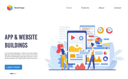 Illustration for Application and website buildings landing page flat vector illustration concept. Boy and girl team creates new digital product, looks at big screen and discuss future program interface and elements - Royalty Free Image