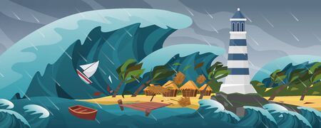 Illustration pour Tsunami flat cartoon seascape panoramic landscape vector illustration background. Panorama of Horrific natural disaster, giant wave, covers serene little island with lighthouse, palm huts and yachts - image libre de droit