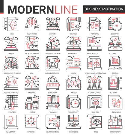 Business motivation complex concept thin red black line icon vector set with motivational outline symbols, productivity of financial processes, teamwork business planning, communication training