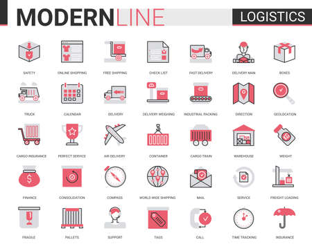 Illustration for Logistics transportation, delivery service flat line icon vector illustration set. Red black thin linear delivering symbols for mobile app website with freight transport, warehouse loading, shipping - Royalty Free Image