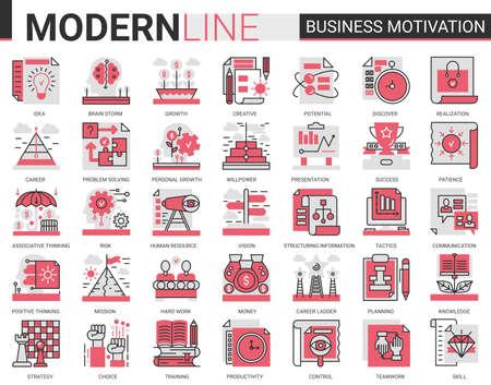 Business motivation complex concept flat line icon vector set with motivational outline symbols, productivity of financial processes, teamwork business planning, communication training