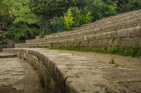 Paris, France, September 4, 2015 - The stone bleachers at Arenes de Lutece are among the remains of one of the largest amphitheaters built by the Romans.