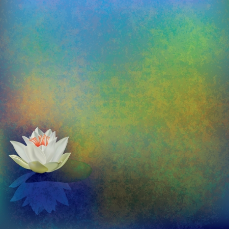 abstract floral illustration with lotus on green background