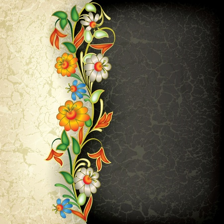 abstract grunge floral ornament on black background