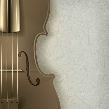 abstract music background with violin on grey