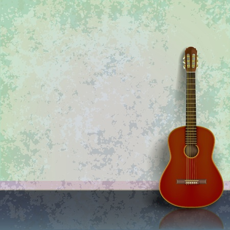 abstract green grunge background with acoustic guitar