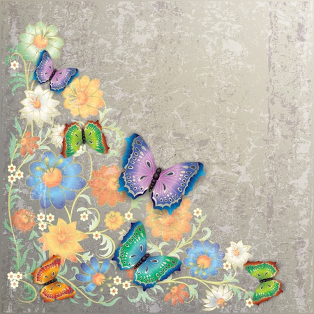 abstract grunge floral ornament and butterflies on grey