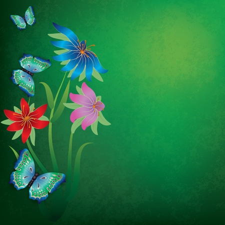 abstract grunge green background with butterflies and flowers