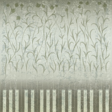 abstract grunge music background with piano and floral ornament