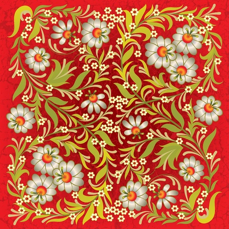 abctract grunge red background with vintage floral ornament