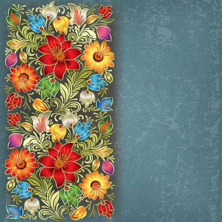 abstract blue grunge background with vintage floral ornament