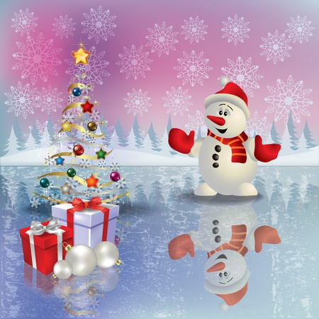 Abstract Christmas greeting with snowman and gifts