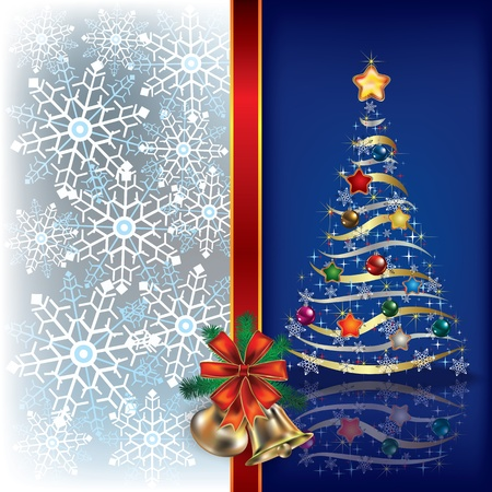 Abstract Christmas blue background with tree and gifts