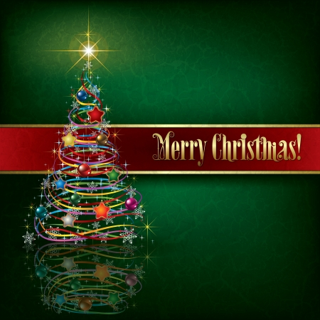 greeting with Christmas tree on green grunge background