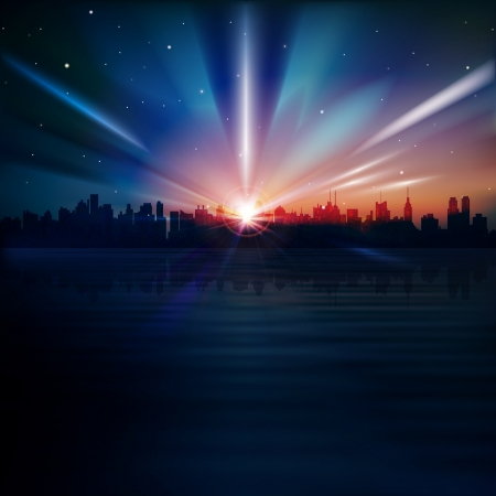 abstract blue background with silhouette of New York and sunrise