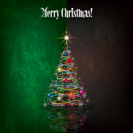 Abstract celebration grunge green black greeting with Christmas tree