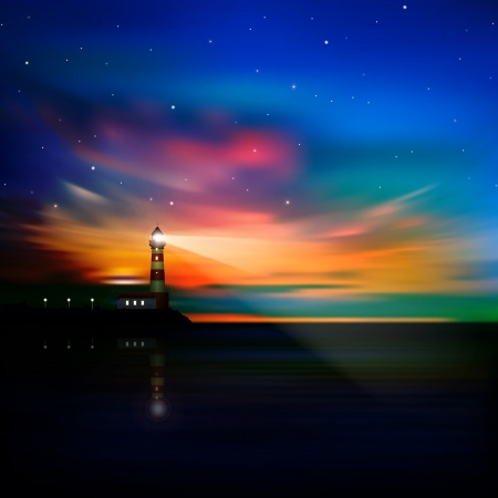 Illustration pour abstract ocean background with sunrise lighthouse and stars - image libre de droit