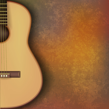 abstract grunge music background with guitar on brown stone texture