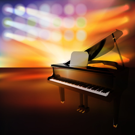 abstract jazz background with grand piano on music stage