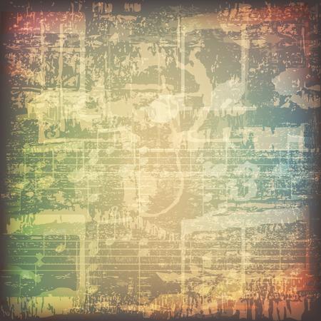 abstract grunge cracked music symbols vintage background